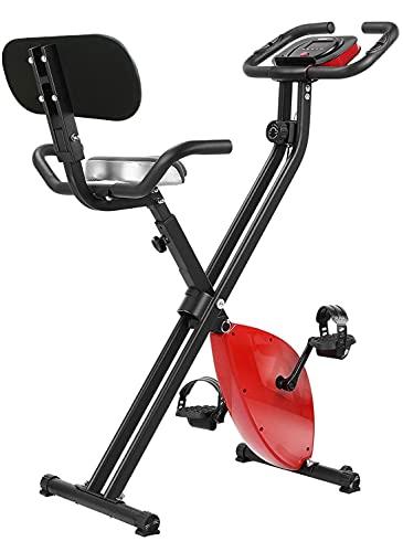 Femor Bicicleta Estática Plegable, Magnetorresistencia de Nivel 8, Asiento con Apoyabrazos y Respaldo, Soporte para Tableta, Apto para Ejercicios Aeróbicos y Ejercicio en Casa, Máximo 136 kg