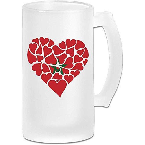 Marokko Vlag Hart Liefde Frosted Glas Stein Bier Mok, Pub Mok, Drank Mok, Gift voor Bier Drinker, 500Ml (16.9Oz)