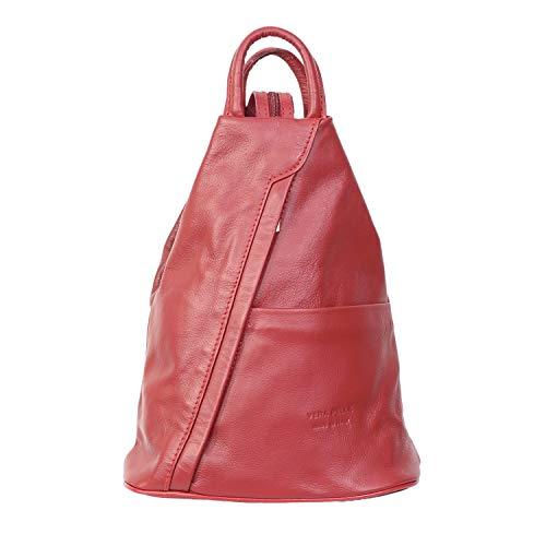 Vera Pelle Genuine Soft Italian Leather Backpack Rucksack/fashion Shoulder Bag (Red)