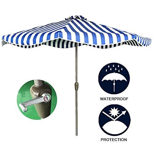 HLMBQ 2.7M Patio Umbrella,Garden Parasol with Crank,Sun Shade Protection for Balcony Patio Fishing Backyard Blue and White Striped Sunbrella