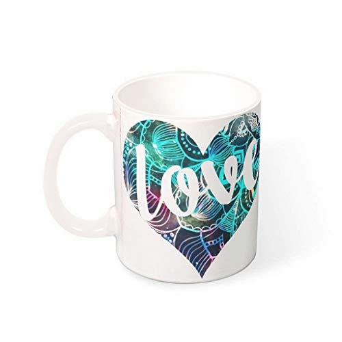 Lind88 11 Ounces LOVE Heart Drinks Koffie Mok Cup met Handvat Keramische Personaliseer Mok - Valentine's Gifts Hanukkah Present, Pak voor Thuisgebruik