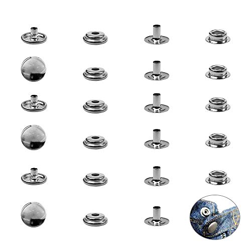 100 Pieces 100% 304 Stainless Steel Ship Marine Canvas Fastener Set Cap Diameter 5/8'(15mm) Each Set Consists of 4 Parts: Cap, Socket, Stud and elyete 100 Pieces =25 Sets
