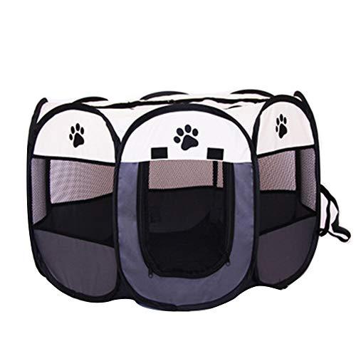 SUNERLORY Tienda de Campaña Plegable para Mascotas, Tienda de Jaula para Mascotas Transparente Zona de Juegos para Animales Pequeños, Parque de Juegos Octogonal para Perro, Gato, Conejo (Arroz Gris)