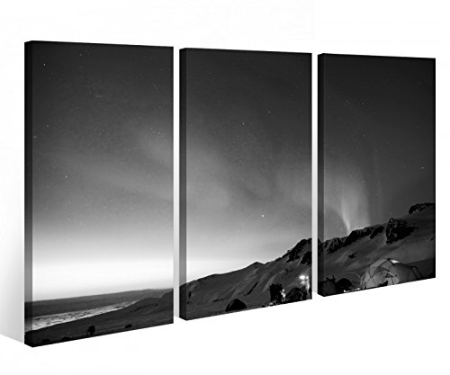 Leinwandbild 3 Tlg. Polarlicht Nordlicht Landschaft Leinwand Bild schwarz weiß Bilder Holz - fertig gerahmt 9O829, 3 tlg BxH:120x80cm (3Stk 40x 80cm)