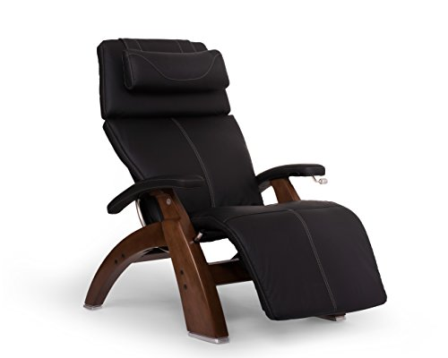 Perfect Chair 'PC-420' Top Grain Leather Hand-Crafted Zero-Gravity Walnut Manual Recliner, Black