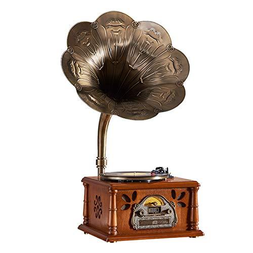 Sanhai Grammofono in Legno, Stile retrò, Giocatore di Record in Vinile Antico Corno Grande, Supporto Riproduzione Vinile, Riproduzione di CD, Bluetooth Wireless, Radio, Riproduzione Disco,Marrone
