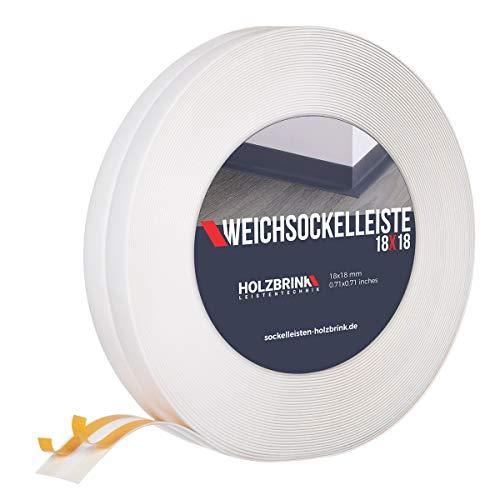 HOLZBRINK Weichsockelleiste selbstklebend, Weiß, Knickleiste aus PVC, 18x18mm, 5 Meter