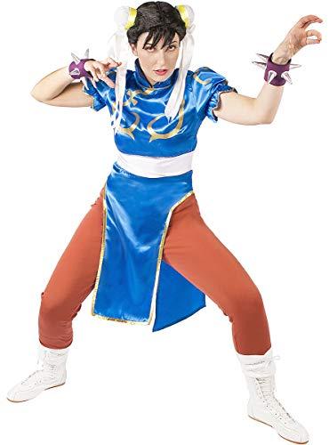 Funidelia | Disfraz de Chun-Li - Street Fighter Oficial para Mujer Talla M ▶ Street Fighter, Videojuegos, Años 80, Arcade - Azul