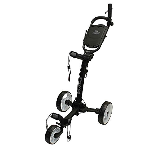 Axglo (Canada's No. 1) 3 Wheel Trilite Ultra Compact Foldable Aluminium Golf Trolley Cart (Free Carry Bag, Umbrella Holder & Beverage Holder) (Black/White)