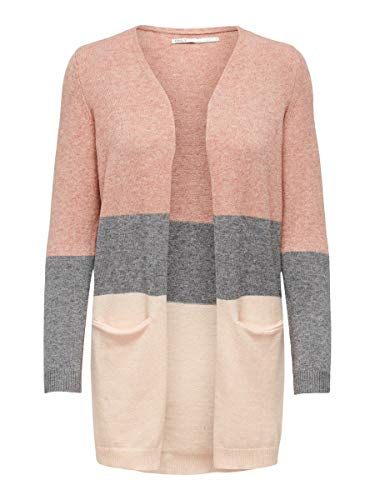 Only NOS Onlqueen L/s Long Cardigan KNT Noos Gilet, Multicolore (Misty Rose Stripes:W. MGM/Cloud Pink Melange), 42 (Taille Fabricant: Large) Femme