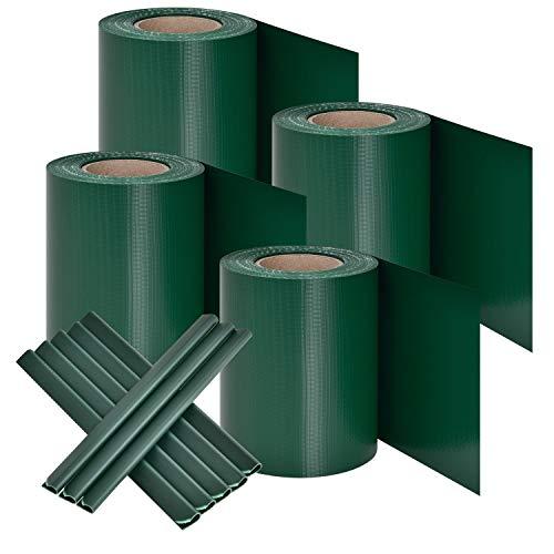 Juskys PVC Sichtschutzstreifen Doppelstabmatten Zaun 4er Set | 4 Rollen á 35m x 19cm | 120 Befestigungsclips | Zaunfolie Sichtschutz Windschutz - grün