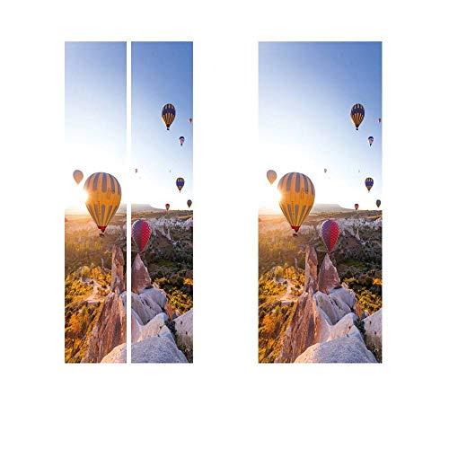 wlbag Heißluftballon Türaufkleber Für Schlafzimmer Dekoration PVC Wasserdicht Abnehmbar,200 * 38.5 cm,2 Stück