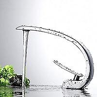 BINGFANG-W キッチン蛇口 近代的なホテルシルバーバスルームシンクの蛇口 - 滝クロームコンテナ一つの穴/シングルハンドルワン蛇口防錆 水栓