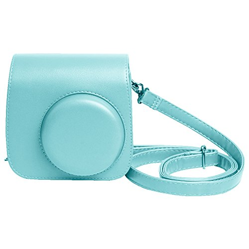 Shopizone Classic Vintage PU Leather Compact Case with Strap for Fujifilm Instax Mini 9/8 / 8+ (Ice Blue)