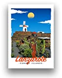 Lanzarote Reise-Poster Carnary Islands Art Deco Retro Style