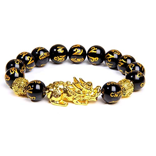 XYBB Buddhism Six Word Men Bracelet 12mm Polished Motto Beads Bangle For Homme Gold Pixiu Charm Bracelet Lucky Gift (Length : 21cm, Metal Color : 5)