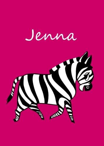 Jenna: personalisiertes Malbuch / Notizbuch / Tagebuch - Zebra - A4 - blanko
