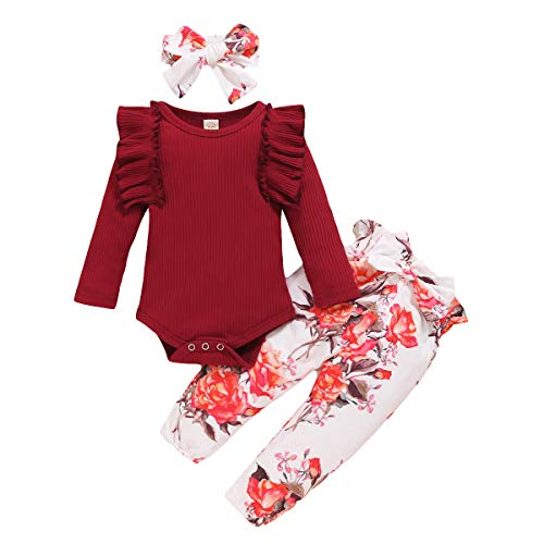 Toddler Baby Girl 3Pcs Clothes Set Ruffle Long Sleeve Romper Bodysuit + Pant Trousers + Headband Autumn Winter Clothes (Wine red, 3-6 Months)