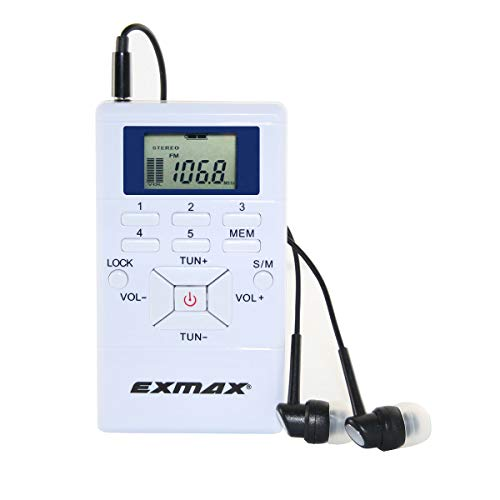 EXMAX E108 Wireless FM Radio Receiver Portable DSP Stereo Pocket Mini FM Radio Receiver Digital Samll Armband FM Radio Earbuds LCD Clock for FM Translator Tour Guide System FM Transmitter - White