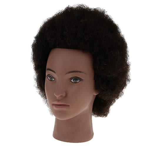 Baoblaze Tête d'Exercice Tête à Coiffé Tête d'Apprentissage Coiffure, Vrai Cheveux d'Afro Couleur Brun