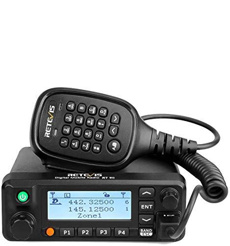 Retevis RT90 Walkie Talkie GPS DMR Coche Banda Dual con Pantalla LCD Emisora de Potencia Radio Coche de Análogo y Digital (Negro, 1Pc)