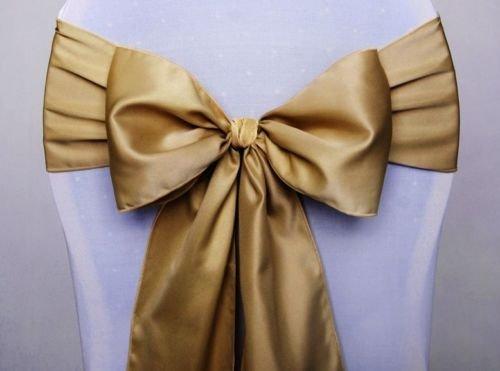 eventkauf 10 Satin Stuhlschleifen/Tischläufer Satinschleifen Stuhlhussen-Schleife (Freie Farbwahl) (Gold)