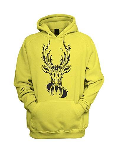 Tribal Stags Head Men's Hoodie Hooded Sweatshirt Tattoo Hipster T Shirt,Yellow,2XL
