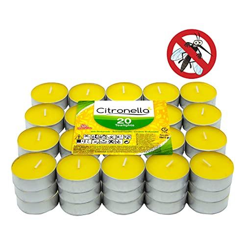 Bougie citronnelle parfumée – Bougie parfumée anti-moustiques – Tealight Citronella Candles – 4 heures de durée sans insecticide (citronnelle, 60 bougies)