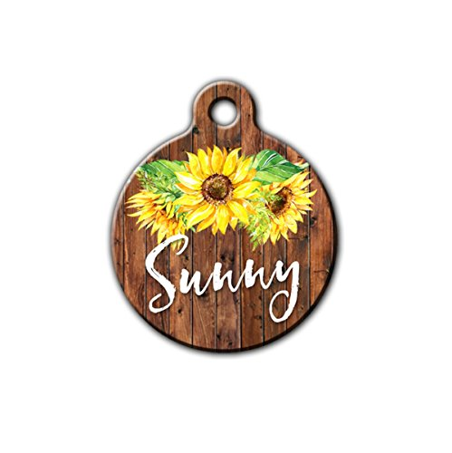 Sunflower pet tag, Cute pet id tag, Summer pet tag, Floral pet tag, Personalized aluminum pet id tag
