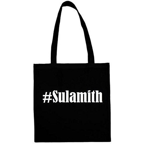 Tasche #Sulamith Größe 38x42 Farbe Schwarz Druck Weiss