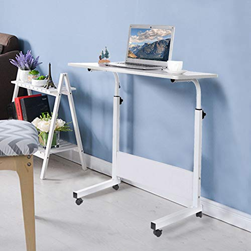 Height Adjustable Computer Desk, Standing Home Office Desks w/Locking Wheels, Utility Table for Kids Students Teens Adults (White)