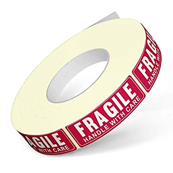 """1"""" X 3"""" Fragile Handle with Care Warning Stickers Fragile Tape for Packing and Shipping Permanent Adhesive Labels 1000 Per Roll  1 Pack"""