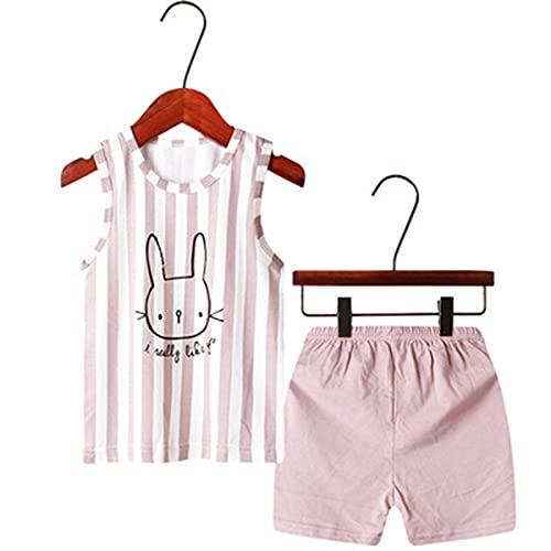 Susanlife LOKKSI - Conjunto de ropa de verano de algodón para bebé y niña, diseño de conejo de dinosaurios con pantalones cortos elásticos de 1 a 8 años