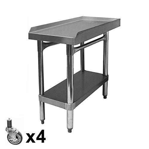 "ACE All Stainless Steel Equipment Stand with Set of Four 4"" Stem Casters. (ETL Certified) Size:30"" W x 18-1/2""L x 27"" H, Model#ES-P3018+KS4113"