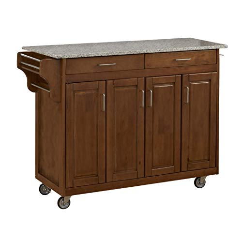 Create-a-Cart Cottage Oak 4 Door Cabinet Kitchen Cart with Gray Granite Top by Home Styles