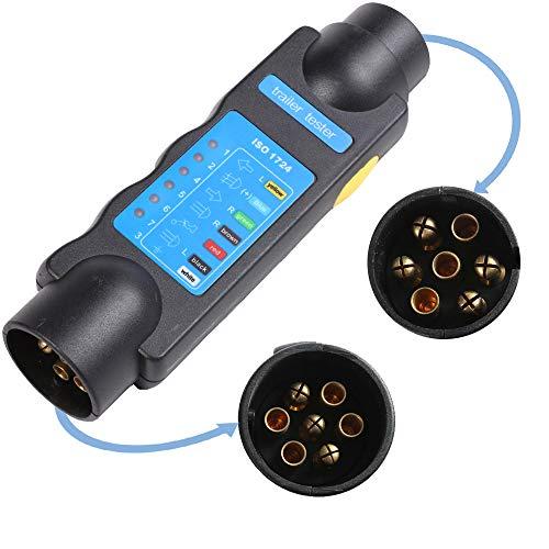 AOHEWEI Feux de Remorque 7 Broches Testeur de Remorque de Prise Diagnostic des Circuits électriques de Câblage 12V Connecteur pour Caravane (testeur de remorque)