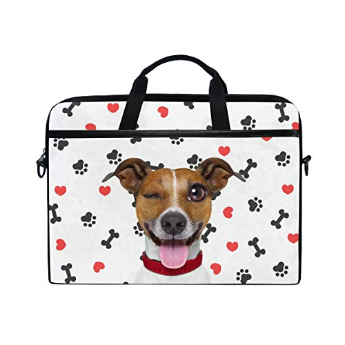 Moyyo Jack Russell Terrier Dog Funny Laptop Bag Laptop Case with 3 Compartment Shoulder Strap Handle Canvas MacBook Computer Bag Personalised for Women Men Kids Girls Boys 15 inch