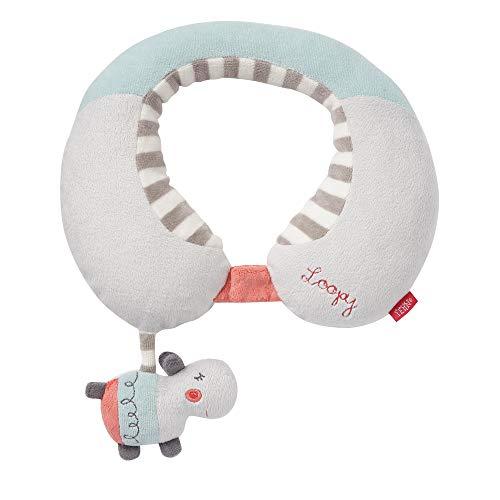 FEHN 059250 neksteun Nilpaard/nekkussen met klein rammeldier – ergonomische vorm van het nekkussen ondersteunt, ontlast en biedt een veilige grip in de auto, babyschaal of kinderwagen
