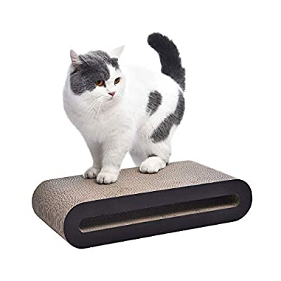 AmazonBasics Oval Cardboard Cat Scratcher Lounger - 18 x 4 x 8.5 Inches, Small