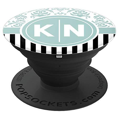 Buchstaben KN Initialen mit Blauem Damast Monogramm KN - PopSockets Ausziehbarer Sockel und Griff für Smartphones und Tablets