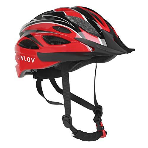 LIVLOV Adult Bike Helmet 56-62CM with Visor, 18 Vents, Cycling Bicycle Helmets Adjustable Lightweight Youth Mens Womens Ladies for BMX Skateboard MTB Mountain Road Bike