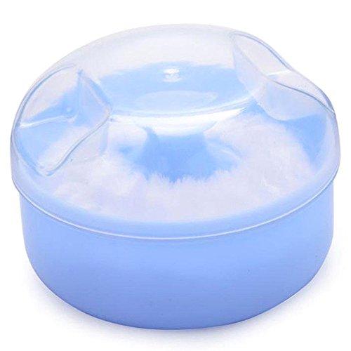 TOOGOO boite de poudre avec Puff d'eponge souple cosmetique de visage et corps de bebe /conteneur (bleu)