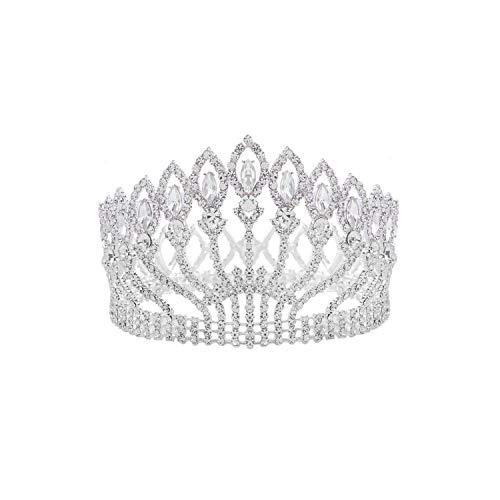 Lujoso cristal brillante barroco Queen King tiara de boda corona, plata blanca