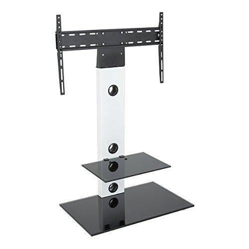 King Support TV Cantilever,Pour Écrans 32'' à 65'' LCD LED Plasma , Étagère en Verre Noir Trempé, H 117.7 cm