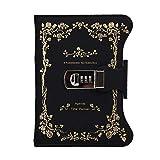 WCN Cuadernos de Redacción Cuaderno/Revista Contraseña Diario con Lock PU Leather B6 Diario Creativo con contraseña de Bloqueo de combinación Cuaderno Clásico (Color : Black)