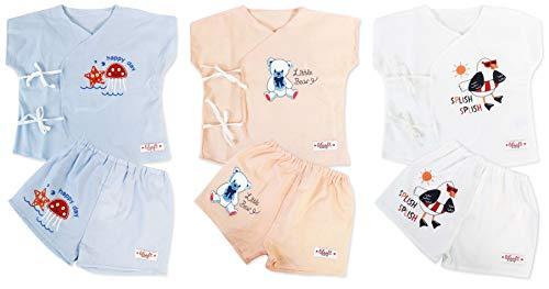 LILSOFT Baby Boy's Wrap T-Shirt and Diaper Cover (Multicolour, 0-6 Months), 3 Pack Set