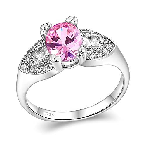 DJMJHG Anillo de Boda Ovalado de circonita Rosa Brillante AAA 6x8MM Anillos de Piedras Preciosas para Mujer Anillo de Plata esterlina 925 Anillos de Diamantes 7
