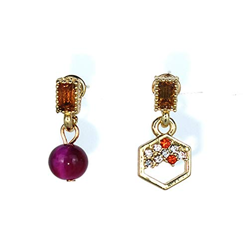 Pendientes para mujer de plata 925, pendientes asimétricos morados, redondos hexagonales, para mujer, fantasía, joyas de fantasía para mujer