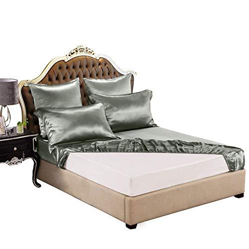 THXSILK Spannbettlaken Seide Bettlaken 90x200, Grau Seiden Bettlaken, 100% Reine 19 Momme Maulbeerseide Bettwäsche Spannbetttuch für Standardmatratze 30cm