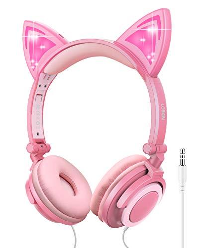 LOBKIN - Auriculares plegables con cable para niños con luz brillante para niñas y niños, Melocotón